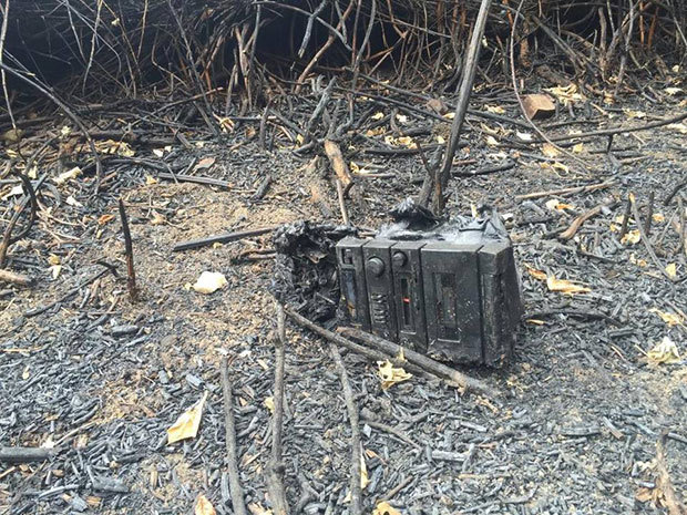 What's left of a boombox sits in an otherwise burned and barren field along the American River Parkway. This site near Camp Pollock is one of several that have been scarred by wildfires this summer. Many blame people who are camping illegally. Erika D. Smith esmith@sacbee.com