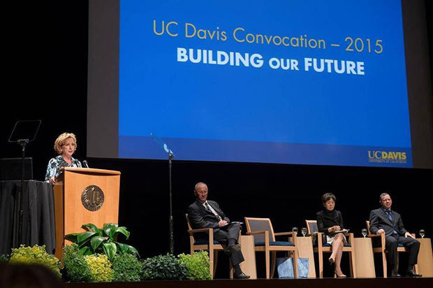 "UC Davis Chancellor Linda P.B. Katehi speaks during the UC Davis Convocation event at the Mondavi Center at UC Davis on Tuesday, Sept. 22, 2015. UC Davis Chancellor Linda P.B. Katehi presided at this ceremonial start to the new year, a welcoming forum for students, faculty and staff, community members and other UC Davis friends. This year's topic: ""Building Our Future"" - making sure UC Davis is always at the forefront in addressing the needs of society, at home, around the nation and around the world. Katehi is joined on the speakers program by Rep. Doris Matsui of Sacramento, Harris Lewin, vice chancellor, Office of Research, Andre Knoesen, chair, Academic Senate, and Michael Lairmore, dean, School of Veterinary Medicine. Randall Benton rbenton@sacbee.com"