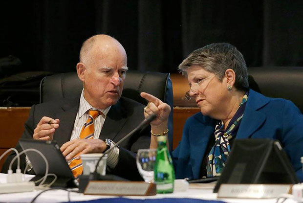 University of California President Janet Napolitano talks with Gov. Jerry Brown during a UC Board of Regents meeting earlier this year in San Francisco. The regents on Thursday approved a plan to increase enrollment next year. Jeff Chiu Associated Press file