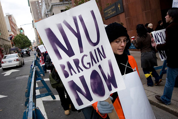 Graduate workers around the country are spearheading union drives on private university campuses. As these proceed, the kind of unions they join and build will only take on a heightened importance. (Photo by James Leynse/Corbis via Getty Images)